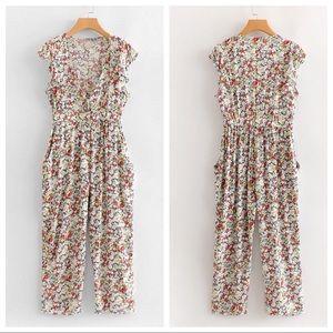 NWOT V-Neck Ditsy Floral Jumpsuit w/ Button Front